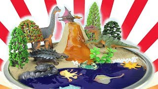DIY VOLCANO ERUPTION with Lava. Learn Dinosaurs Volcano Science Kit for Kids! Sea Ocean Animals Toy~