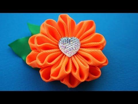 Цветы из ткани канзаши видео 46