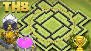Town Hall 8 Best Hybrid Base Ever 2016 (TH8 Hybrid/Farming) | Dead Circle + Replays
