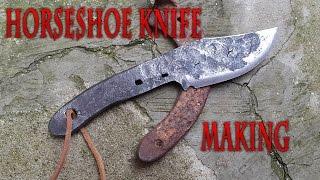 Horseshoe Knife Making - Forging a knife from a rusty horseshoe