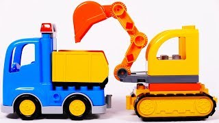 Dump Truck and Excavator Learn Colors with Building Blocks Toys for Children
