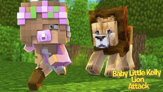 BABY LITTLE KELLY GETS ATTACKED BY A LION! | Minecraft Little Kelly