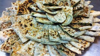 خبز بالخضار الورقية الطازجة الارميني (خبز جينغالوف) Jingalov Hats - Bread