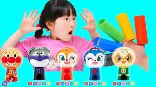 アンパンマンガチャマシンおうちでガシャポンで英語の色を覚えよう!Learn Colors Anpanman Capsule Toy Machine finger family