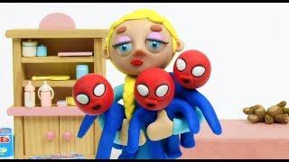 Triplets Superhero Play Doh Stop Motion Cartoons Compilation