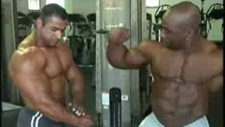 Four 202 class IFBB Pro bodybuilders posing