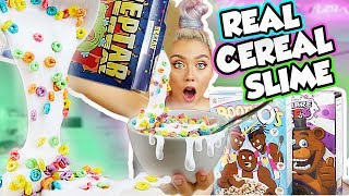 MIXING WEIRD CEREAL INTO MILK SLIME! MOST SATISFYING FOOD SLIME! REAL CEREAL!