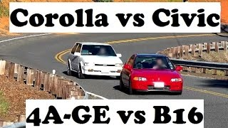 4A-GE Vs B16 Battle! Touge And Acceleration Tests