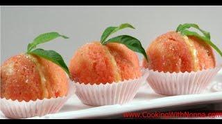 Italian Peach Cookies with Cream and Alkermes  - Rossella