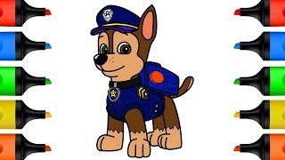 How to Draw Paw Patrol Chase Coloring Pages for Kids - LEARN COLORS