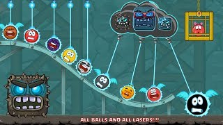 RED BALL 4 - ALL BALLS killed by ALL LASERS, LIGHTNING, MONSTERS & BOSSES (New Update)