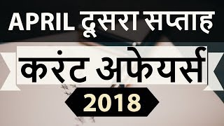 April 2018 Current Affairs in Hindi 2nd week part 1- IAS/SSC/IBPS/CDS/RBI/SBI/NDA/CLAT/KVS/DSSB/CTET