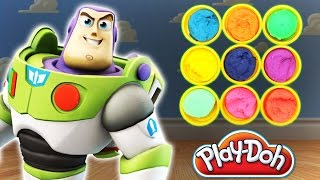 Toy story Buzz lightyear game!!! Epic Hello Kitty and other surprise toys in Play Doh colors!