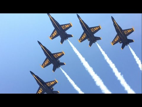 The United States Navy Blue Angles Flight Demonstration Team Performing At Jones Beach Airshow 2016