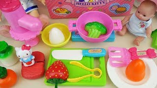 Hello Kitty kitchen and baby doll cooking toys play Baby doli