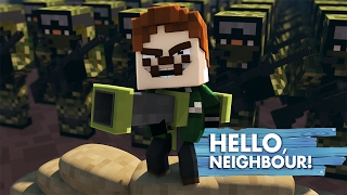 Minecraft Baby Hello Neighbour - LITTLE KELLY & TINY TURTLE FIGHT THE NEIGHBOUR ARMY!