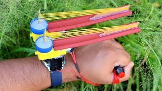 How to Make Automatic Powerful Rubber Band Gun using DC Motor - Very Simple