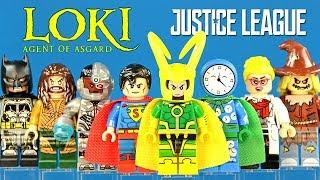 Justice League Batman Superman Aquaman Cyborg & Marvel's Loki Unofficial LEGO Minifigures