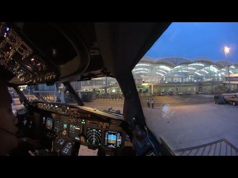 watch (ATC) Cockpit Takeoff and Landing Flight GIA288 WIMM-WARR (single cam)