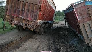 Too Risky Driving - Passing Trucks Near The 12 Wheeler 3118 Stranded Truck - Dangerous Indian Road.