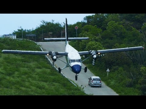 CRAZY downhill LANDINGS at St. Barth Dangerous Airport