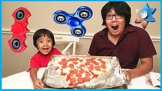 DIY GIANT FIDGET SPINNER PIZZA and Fidget Spinners Collections Toys with Ryan ToysReview