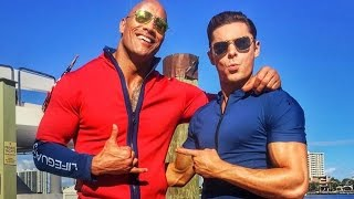 Dwayne Johnson and Zac Efron Share First Baywatch Set Photos
