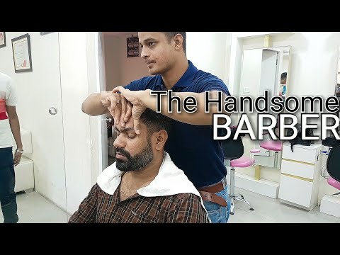 Semi intense head massage with gentle neck cracking by professional Indian barber ASMR videos.