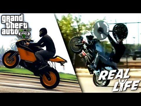 GTA 5 VS REAL LIFE 2 fun fail stunt
