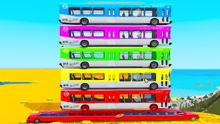 Learn COLORS BUS for Kids & Superheroes CARS in Spiderman Cartoon Nursery Rhymes