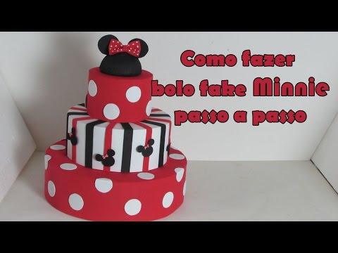 Como fazer Bolo fake Minnie passo a passo