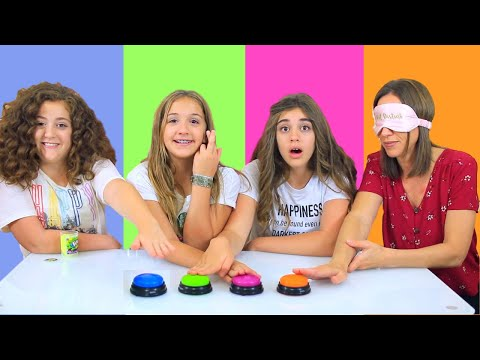 DON T PRESS THE WRONG BUTTON SLIME CHALLENGE with our MOM BLINDFOLDED Annelise CHEATED