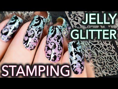 Jelly Glitter Stamping elegant nail art
