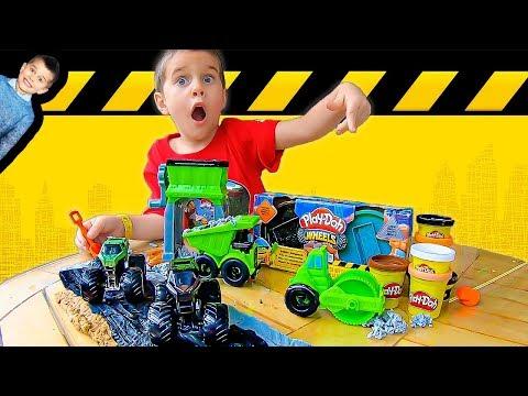 Play Doh Construction Trucks Build Road for Monster Jam Toy Monster Trucks