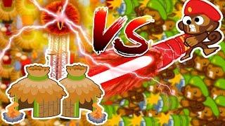 Bloons TD Battles | RAYS OF DOOM VS VILLAGE?!? (VILLAGES ARE STRONGER!?!)