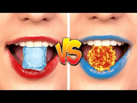 HOT VS COLD CHALLENGE Girl On Fire VS Icy Girl Challenge & Funny Situations by Kaboom