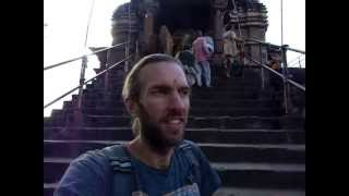 Getting blessed in a tantric temple, India—Kama sutra in stone