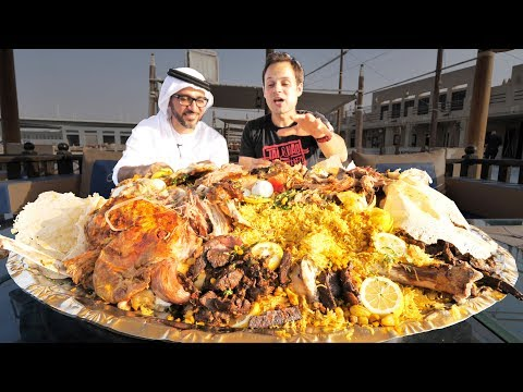 Dubai Food RARE Camel Platter WHOLE Camel w Rice Eggs Traditional Emirati Cuisine in UAE