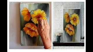 How to draw a flowers painting Acrylic Technique on canvas by Julia Kotenko