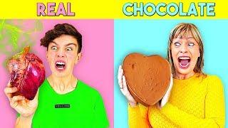 REAL FOOD vs CHOCOLATE FOOD - Challenge