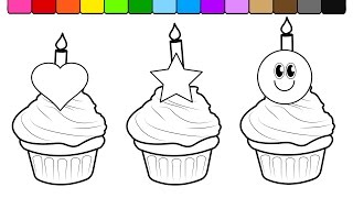 Learn Colors for Kids and Color this Birthday Cup Cake Coloring Page