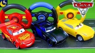 Remote Control Disney Cars 3 Toys! RC Lightning McQueen Jackson Storm Cruz Ramirez Race Crash Toys