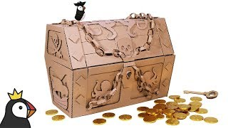 How to Make TREASURE CHEST with a Lock from Cardboard