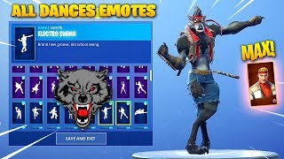 *NEW* MAX TIER DIRE (BLACK WEREWOLF) SKIN SHOWCASE WITH ALL FORTNITE DANCES & EMOTES!