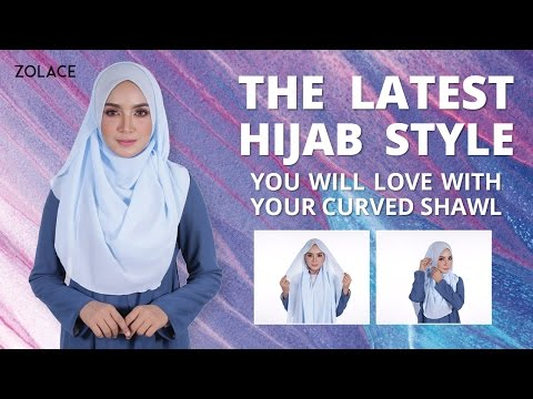 Hijab Shawl Tutorial 2017 -  How To Get The Latest Hijab Style With a Simple Curved Shawl