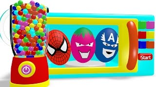 Learn Colors with Microwave & Superheroes Surprise Eggs Coloring for Children - Colors for Kids