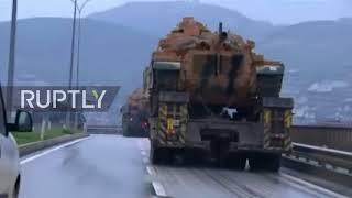 Turkey: Convoy of tanks reach Turkish border with Syria