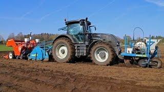 Valtra S233 & potato planting train   One pass spading, planting & ridging