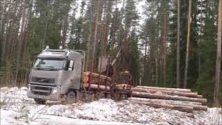 Volvo FH 540 with KESLA 2009LT - timber truck loading time-lapse in Estonia