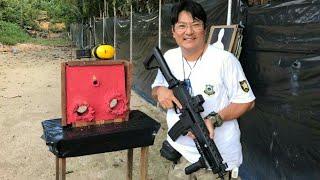 Balística com fuzil IA2 munição CBC 556 223  TESTE BALÍSTICO USANDO PT840  ETPP X EXPO GOLD